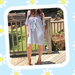 Swing Lined Dress Cold Shoulder S, M, or L